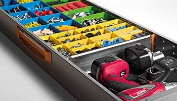 Beispiele für Schubladen. Teilern E5 für Schubladen serie S5